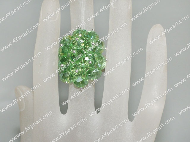 Lovely Manmade Cluster Style Apple Green Crystal Flower Adjustable Ring