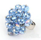 Fashion Faceted Loop Cluster Style Blue Crystal Flower Adjustable Ring