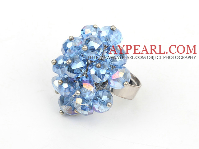 fashion blue crystal adjustable ring