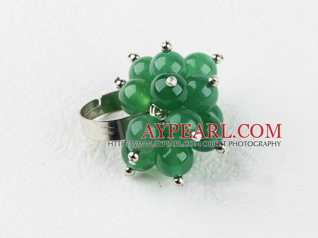 Fashion Cluster Style 8Mm Round Aventurine Jade And Silver Beads Flower Adjustable Ring