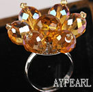 Gorgeous 8*12Mm Champagne Crystal Flower Adjustable Ring