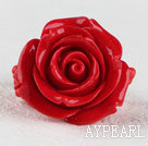 Beautiful 17*30Mm Romantic Red Rose Acrylic Elastic Ring