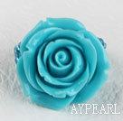 Admirably Turquoise Blue Color Rose Acrylic And Glass Beads Elastic Ring