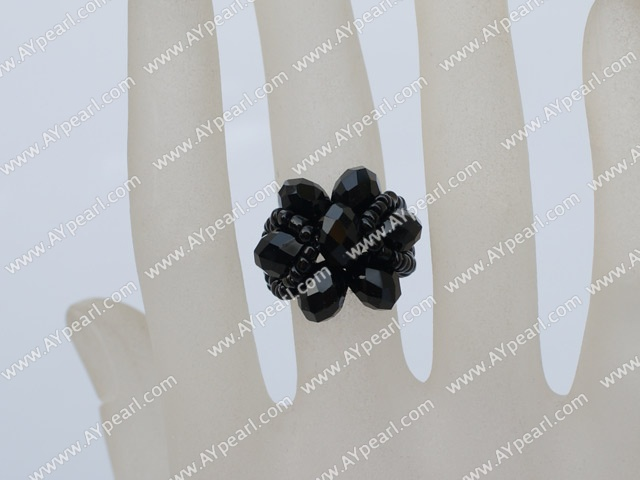 Lovely Cluster Style Black Crystal Flower Elastic Stretch Ring