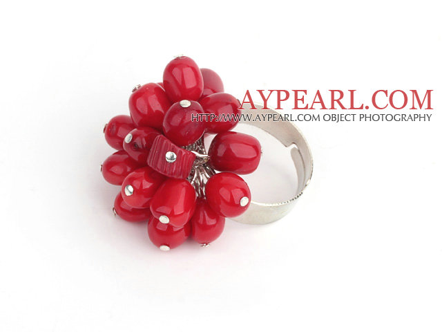 Fashion 7-8Mm Cluster Style Red Coral Loop Charm Flower Ring (Adjustable)