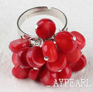 Wholesale lovely red coral ring( adjustable )
