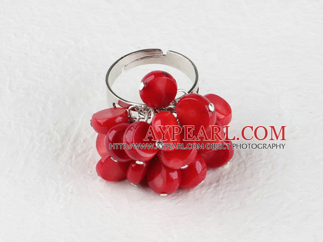 Lovely Falt Round Cluster Red Coral Loop Chain Flower Ring( Adjustable )
