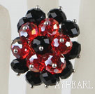 Popular Cluster Style Black And Red Crystal Flower Adjustable Ring