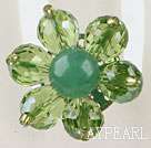 cute flower style green crystal ring
