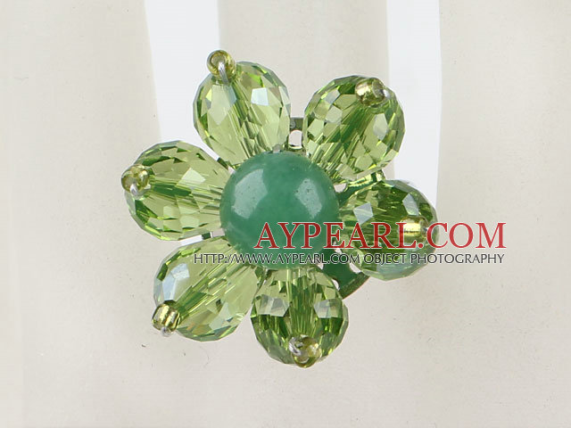 Beautiful Cute Green Series Faceted Crystal And Round Aventurine Flower Adjustable Ring