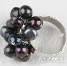 Noble style black freshwater pearl adjustable ring