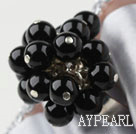 Wholesale Black Agate Adjustable Ring