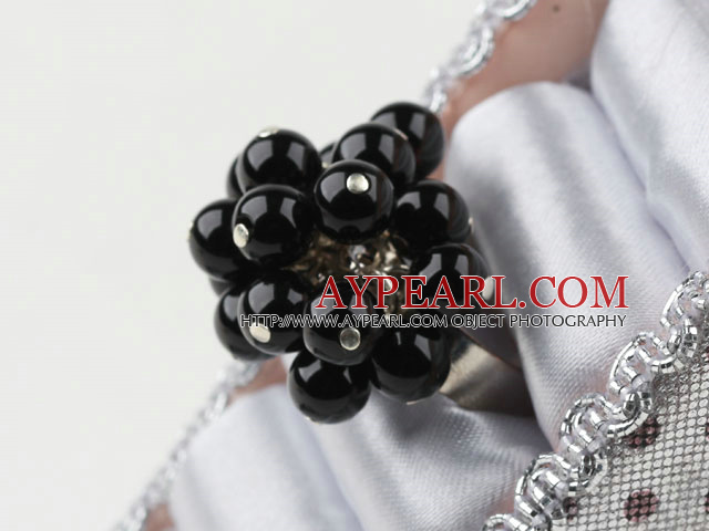 Fashion Cluster Style Round Black Agate Flower And Loop Charm Adjustable Ring
