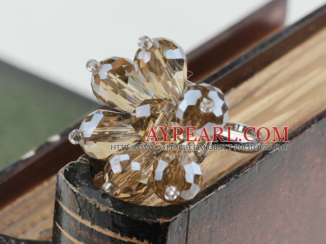Fashion 8*12 Mm Smoky Color Crystal Flower Adjustable Ring
