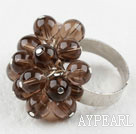 Wholesale Beautiful Cluster Style Round Smoky Quartz Ball Adjustable Flower Ring