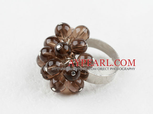 Beautiful Cluster Style Round Smoky Quartz Ball Adjustable Flower Ring