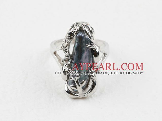 Classic Design Big Black Biwa Pearl Freesize Ring