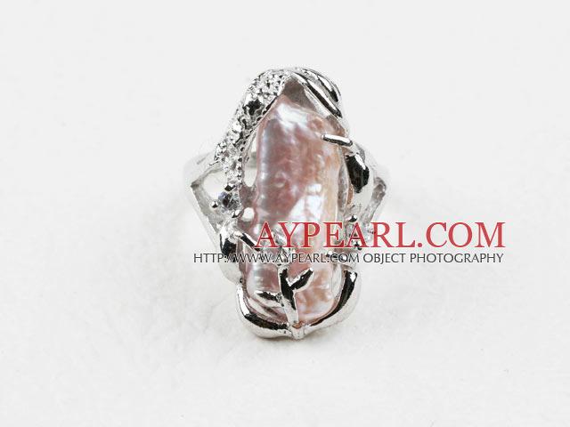 Classic Design Big Pink Biwa Pearl Freesize Ring