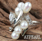 Wholesale Classic Design Natural White Freshwater Pearl Ring with Rhinestone (Free Size)