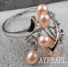 Classic Design Natural Pink Freshwater Pearl Ring with Rhinestone (Free Size)