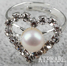Classic Design Natural White Freshwater Pearl hjerte form Justerbar Bridal Ring