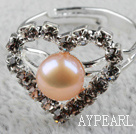 Wholesale Classic Design Natural Pink Freshwater Pearl Heart Shape Adjustable Bridal Ring