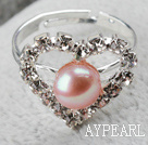 Wholesale Classic Design Natural Purple Freshwater Pearl Heart Shape Adjustable Bridal Ring