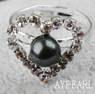 Wholesale Classic Design Black Freshwater Pearl with Rhinestone Heart Shape Adjustable Bridal Ring
