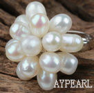 Natural White Freshwater Pearl Lotus Shape Adjustable Ring