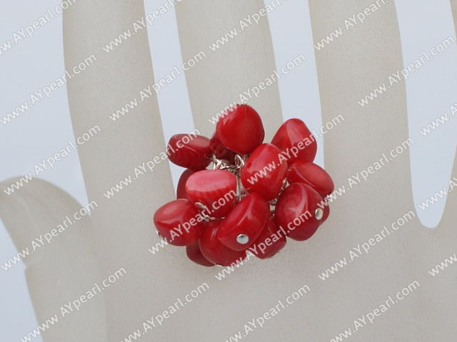Lovely Cluster Red Coral Adjustable Charm Ring