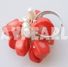 Wholesale white pearl and orange coral ring
