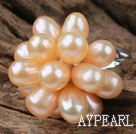 Wholesale Natural Pink Freshwater Pearl Lotus Shape Adjustable Ring