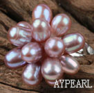 Natural Purple Freshwater Pearl Lotus Shape Adjustable Ring