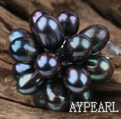 Wholesale Black Freshwater Pearl Lotus Shape Adjustable Ring