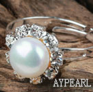 Wholesale Classic Design Natural White Freshwater Pearl Adjustable Ring with Rhinestone