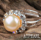 Wholesale Classic Design Natural Pink Freshwater Pearl Adjustable Ring with Rhinestone