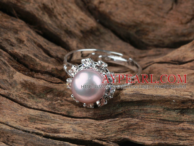 Classic Design Natural Purple Freshwater Pearl Adjustable Ring with Rhinestone