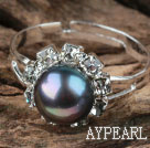 Classic Design Black Freshwater Pearl Adjustable Ring with Rhinestone