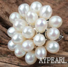Wholesale Natural White Freshwater Pearl Flower Shape Ring (Free Size)