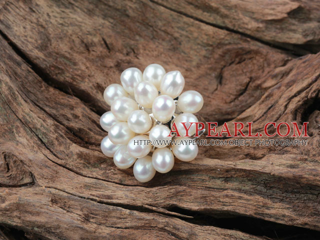 Natural White Freshwater Pearl Flower Shape Ring (Free Size)
