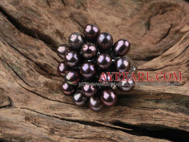 Black Freshwater Pearl Flower Shape Ring (Free Size)