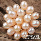 Natural Pink Ferskvann Pearl Flower Shape Ring (Free Size)