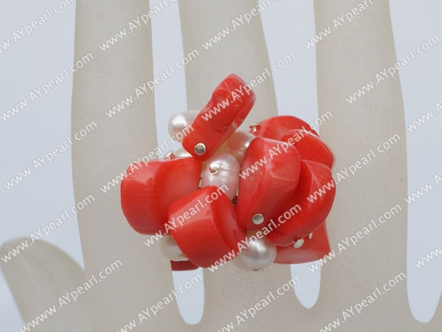 Fashion Cluster Style White Freshwater Pearl And Orange Coral Adjustable Ring