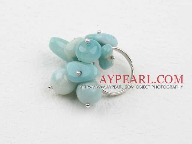 Fashion Cluster Style Mixed Shape Amazon Stone Adjustable Ring