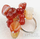 Assorted Agate sten justerbar ring