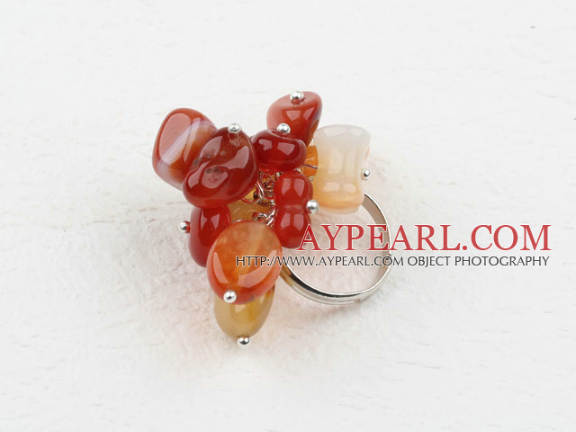 Fashion Assorted Loop Chain Red Agate Stone Adjustable Ring