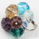 Wholesale Assorted Faceted Multi Color Crystal Adjustable Ring