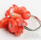 Fashion Cluster Style Multi Red Coral Adjustable Loops Ring