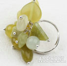 Assorted Olive Jade Adjustable Ring
