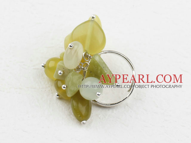 Assorted Cluster Style Multi Yellow Olive Jade Loop Chain Adjustable Ring